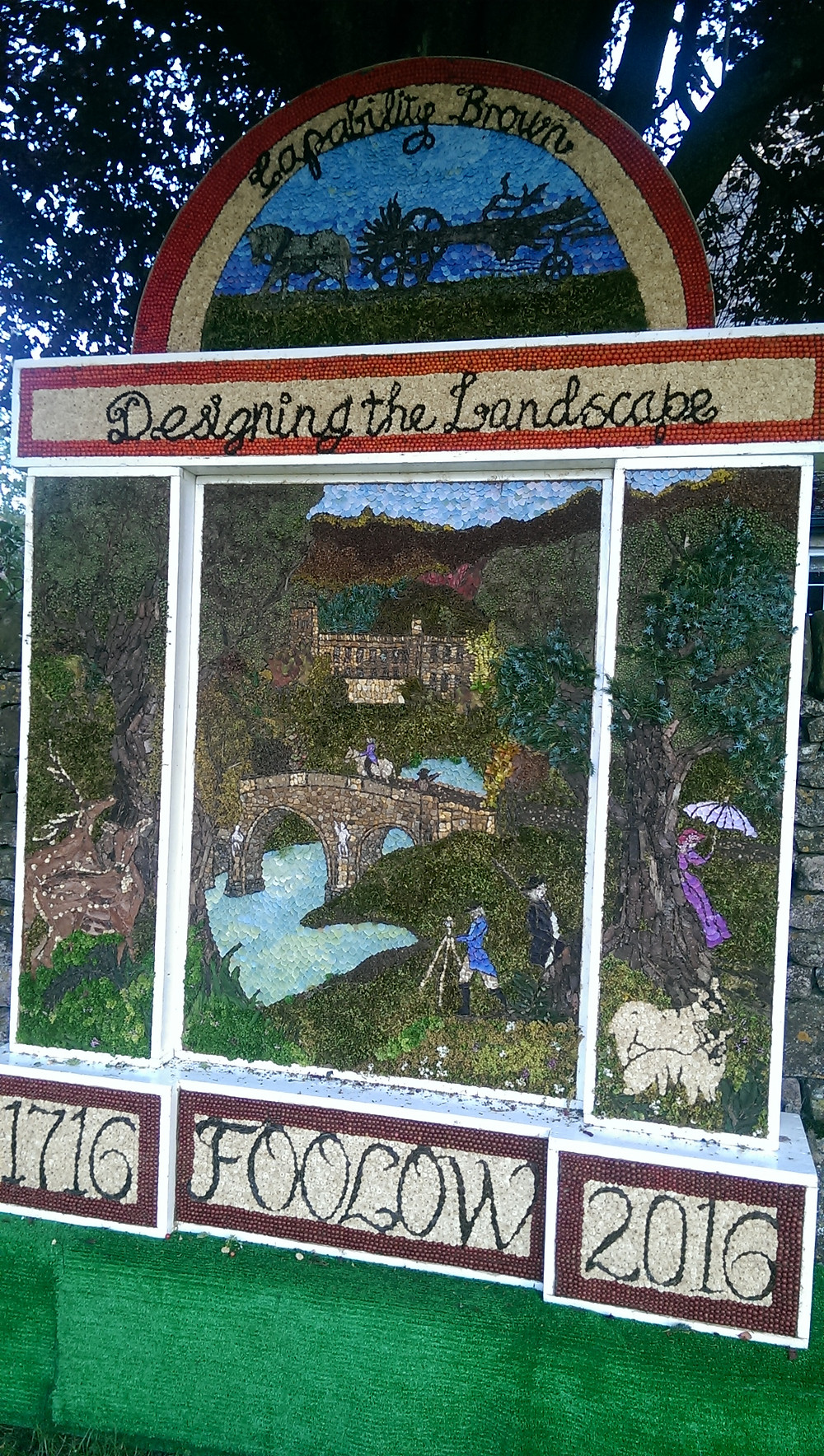 Capability Brown celebrated in a Well Dressing in Foolow in The Peak District