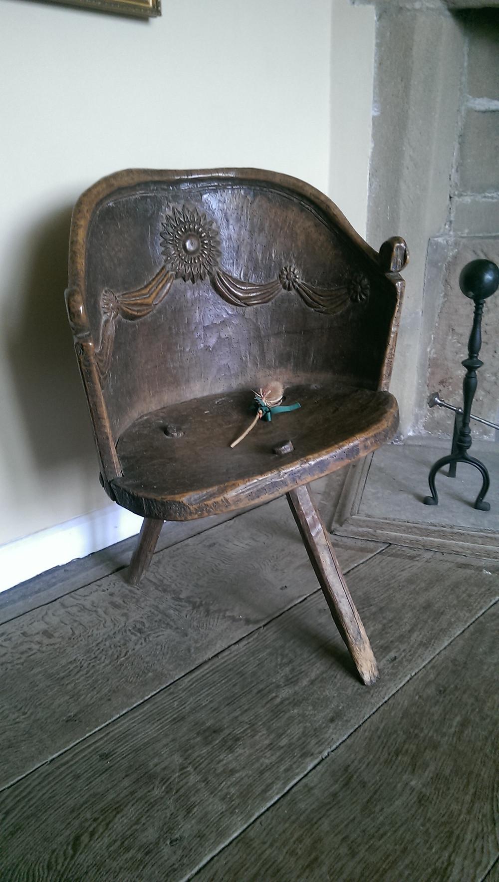 Three legged chair at Haddon Hall