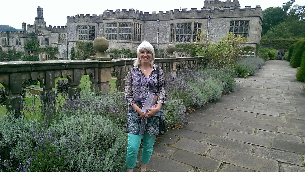 Lavender edging the paths  with views over Haddon Hall