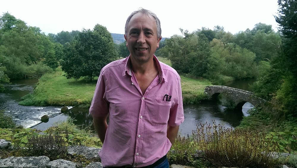 John in Haddon Hall gardens near the bridge
