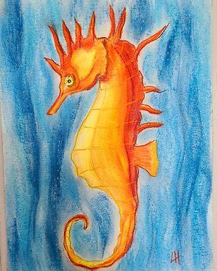 pastels seahorse