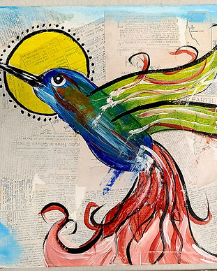 mixed media bird