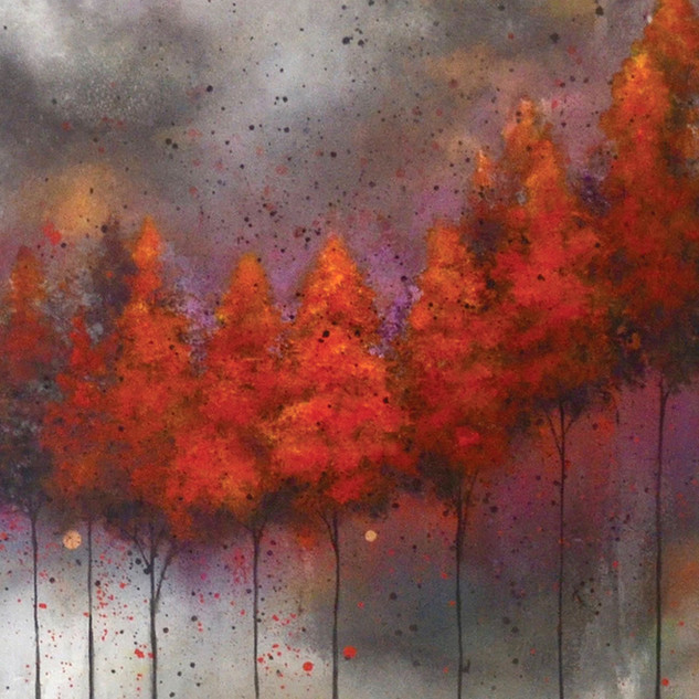 Fiery Trees in Black Rain