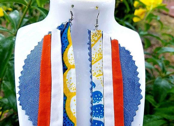Boucle d'oreille Jean tri-color