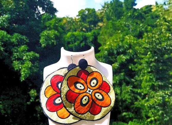 Boucles d'oreilles Fleur en Wax
