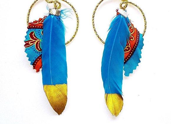 Boucles d'oreilles Plume Bleue et Or