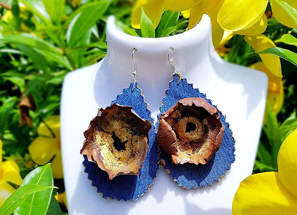 Boucles d'oreilles en jean et fleur de coco