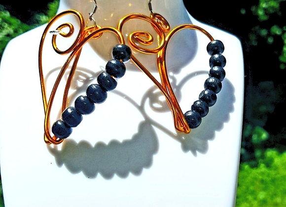 Boucles d'oreilles en fil aluminium et perles