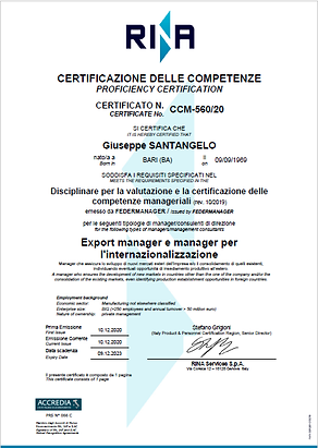 0 Export Manager (Certificazione RINA-MI