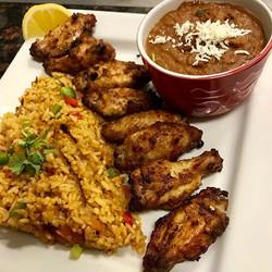 A beautiful plate_ peri-peri wings, rice