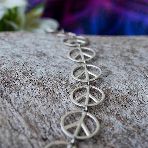 Pulseira Prata Simbolo da Paz Vazado