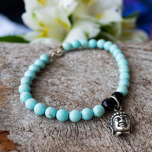 Pulseira Shambala com Pingente Prata Buda e Pedras em Azul Turquesa