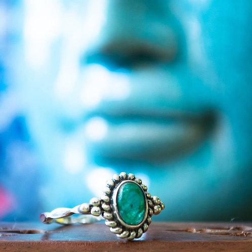Anel Prata com Pedra Agata Verde