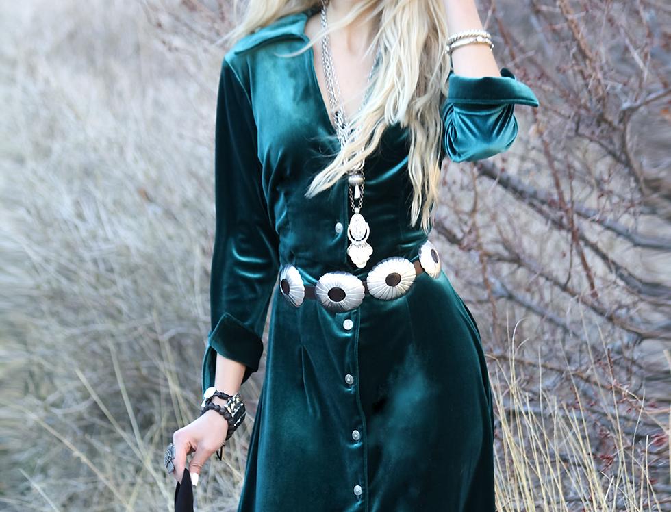 Audrey Dress - Turquoise Velvet
