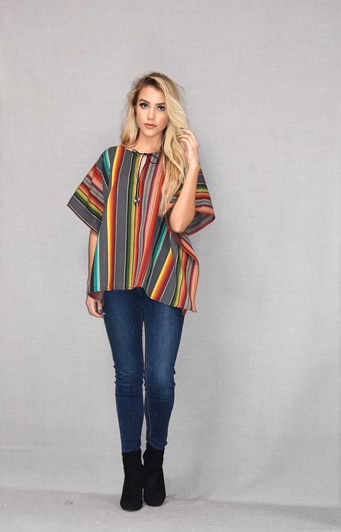 Paloma Top - Grey Serape