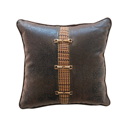 English Country Leather Throw Pillow