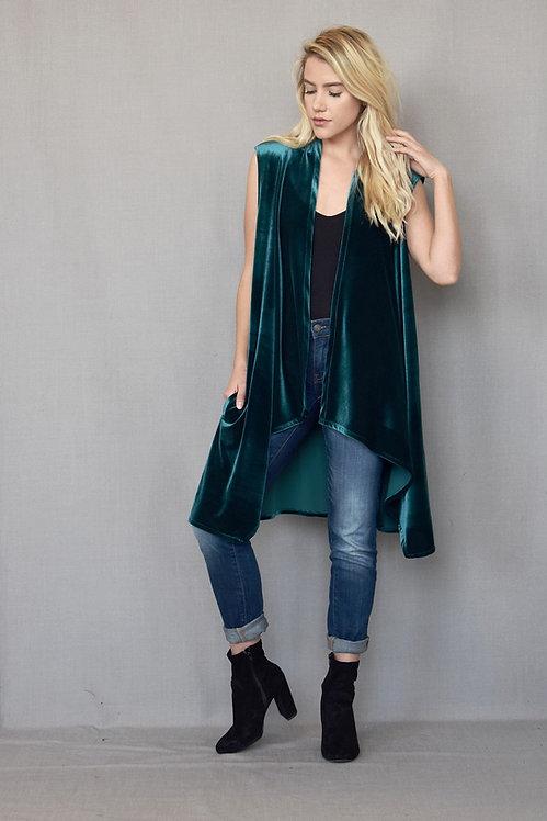 Emily Duster - Turquoise Velvet