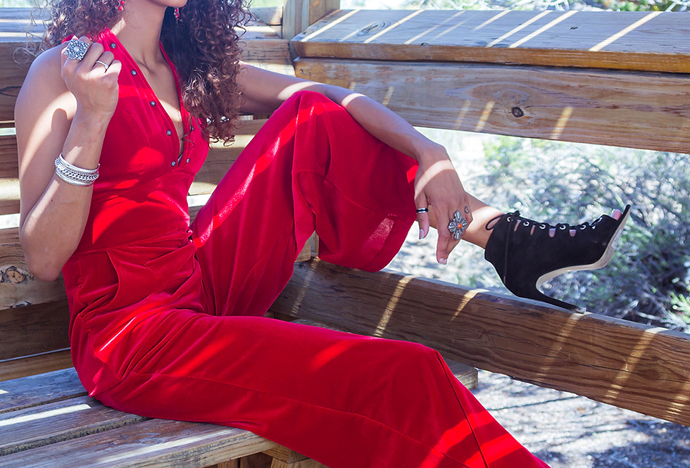 Frida Jumpsuit - Lipstick Velvet