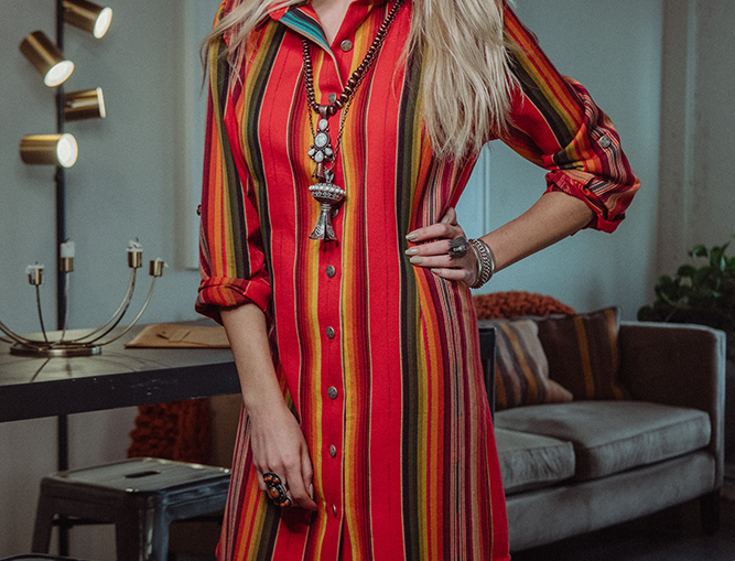 Ana Dress - Red Serape