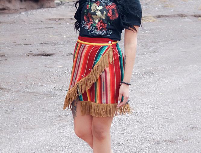 Peyton Skirt- Maroon Serape