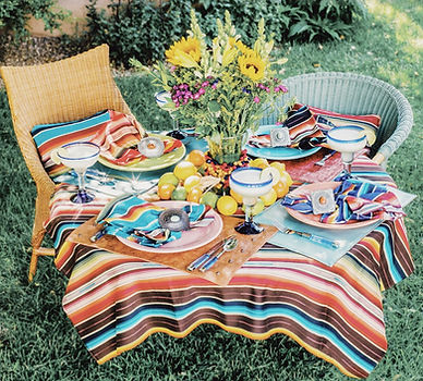 tabletop, table settings, serape, serape napkins, southwest decor, tablecloth, leather placemats