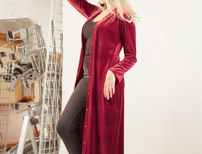 Ashley Duster- Burgundy Velvet