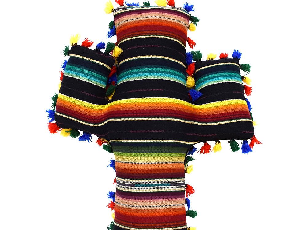 Black Serape Cactus Pillow