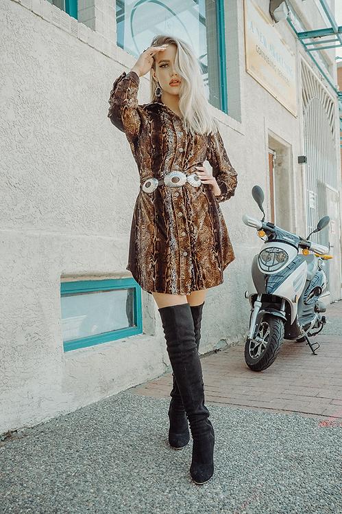 Ana Dress - Anaconda Brown
