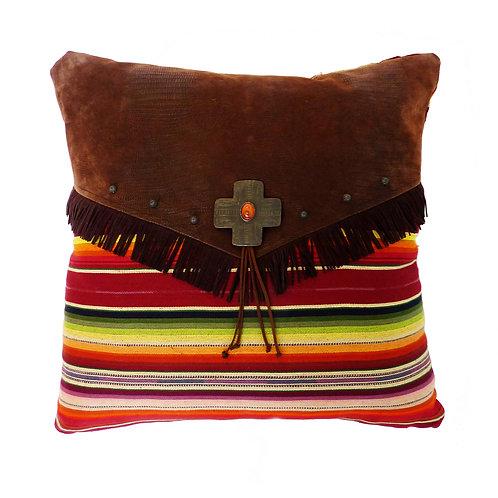 Maroon Serape Throw Pillow