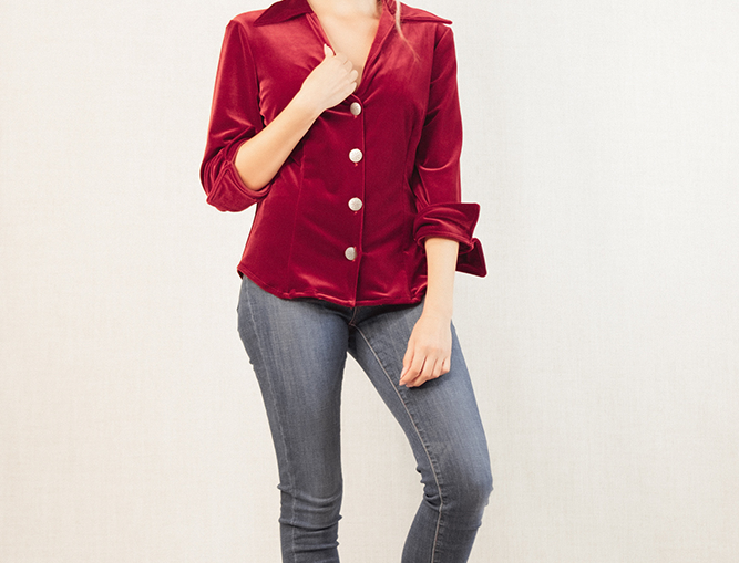 Rebecca Shirt- Burgundy Velvet