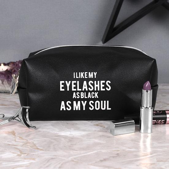 """""""I Like My Eyelashes As Black As My Soul"""" Make Up Bag"""