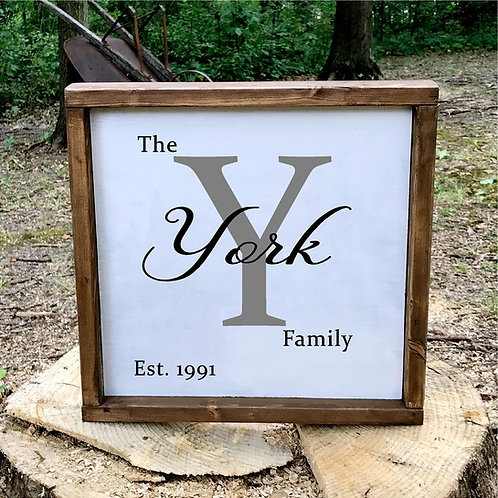 Square Family Wood Sign
