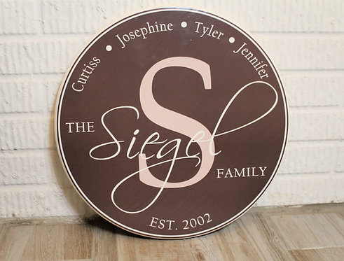 Circle Family Wood Sign