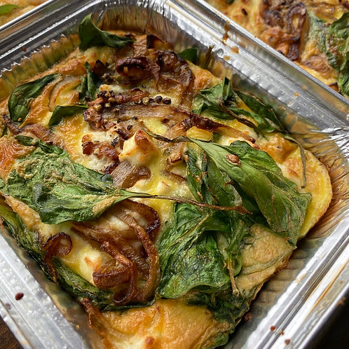 Spinach, Goat Cheese and Caramalized Shallot Frittata (Serv1) (GF)