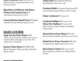 Thanksgiving Menu Now Available!