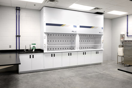 Custom 11 foot fume hood with flame-resistant interior
