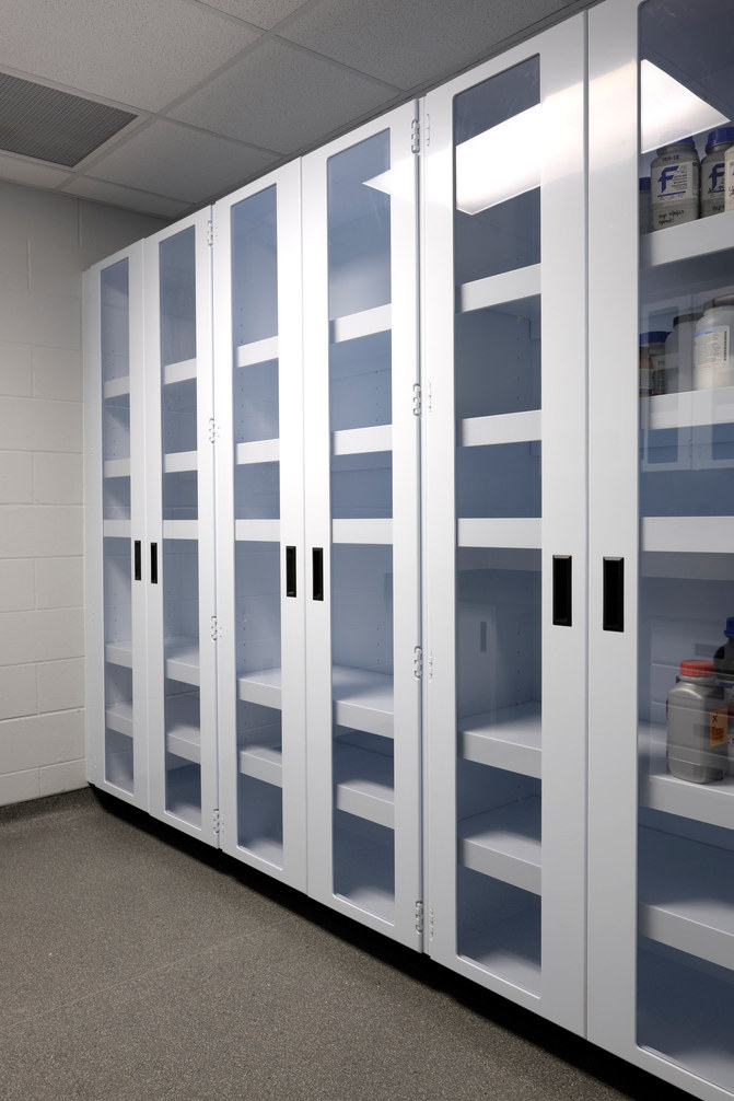 Full height cabinet storage with polycarbonate glazing