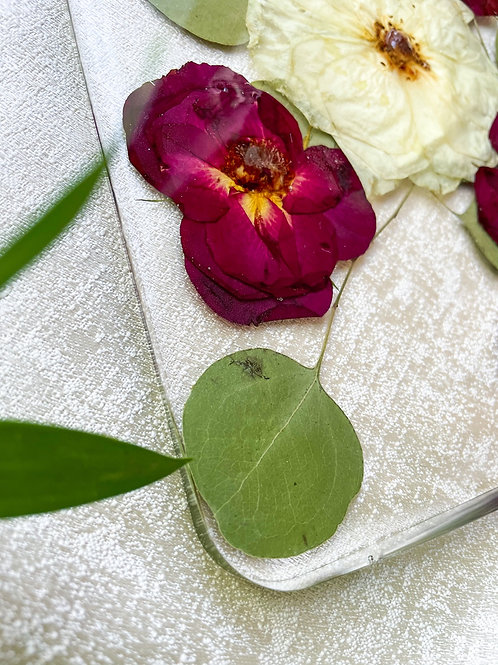 Pressed roses in Charcuterie Board