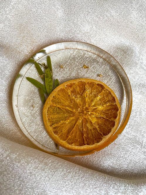 Orange, Olive Branch & Gold Flake Minimalist Coaster