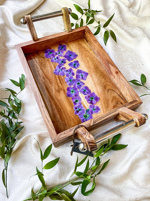 Purple hydrangeas wooden tray