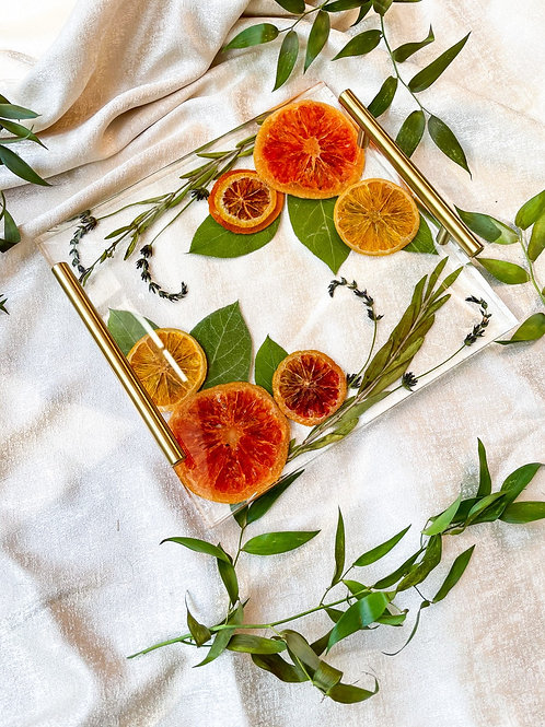 Orange  & Lavender acrylic tray