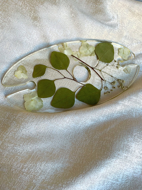 Wine Bottle 2 Glass Rack Eucalyptus & White Hydrangeas