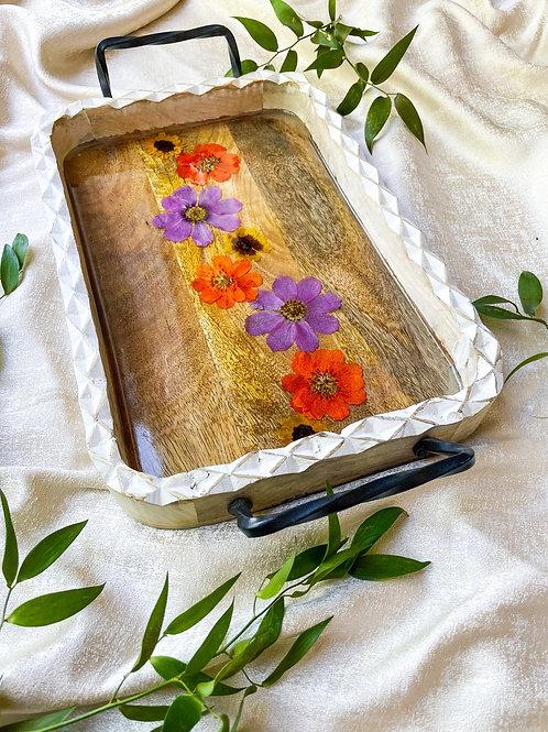 Wild flower wooden tray
