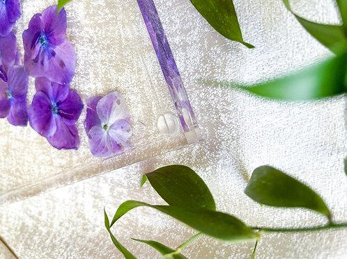 Acrylic 7x12in vanity tray with hand pressed purple Hydrangeas
