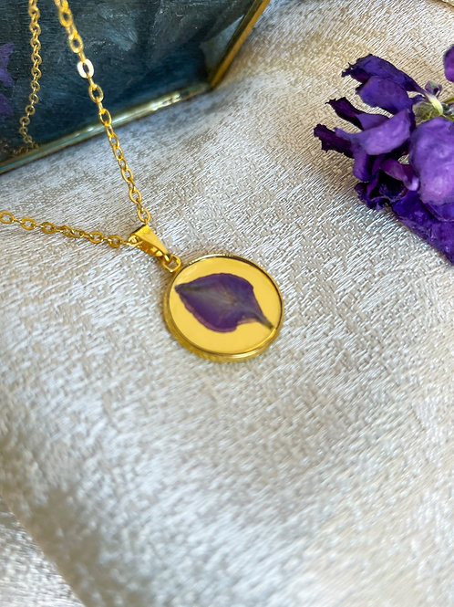 Pressed Botanical Pendant Necklace Purple Larkspur Petal
