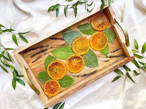 Dried oranges & Lavender wood & resin tray