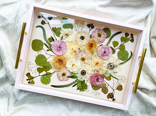 Pressed & 3D flowers in pink wooden tray