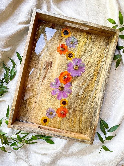 Wild flower wood tray