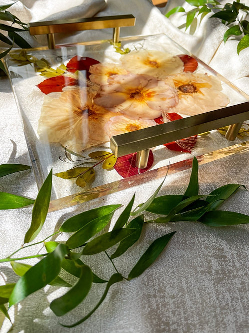 Hand pressed fall themed flowers in acrylic tray