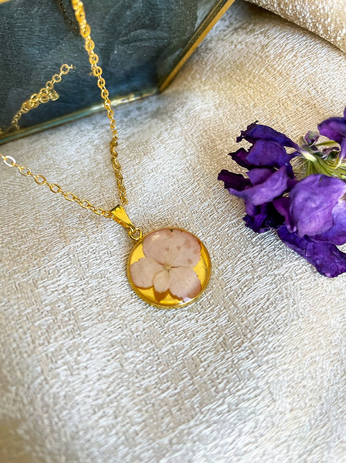Pressed Botanical Pendant Necklace Pink Hydrangea